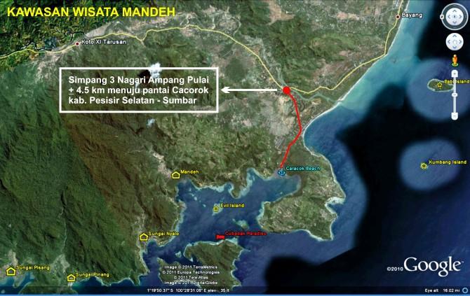 rute jalur darat kawasan wisata Mandeh