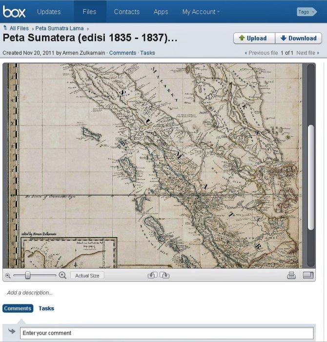 sample Peta Sumatera (edisi 1835 - 1837)