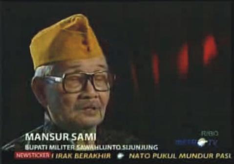 Mansur Sami - Bupati Militer Sawahlunto Sijunjung Di Masa PDRI